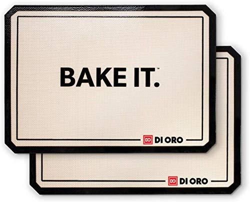 DI ORO® Antihaft-Silikon Backmatten - 250°C hitzebeständige Silikon – Spülmaschinenfest & leicht zu reinigen - BPA-frei und LFGB-zertifiziert – Professionale Backunterlagen & Backfolien (42 x 30cm)