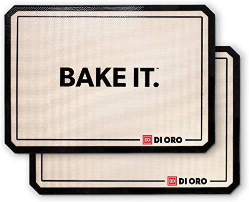 DI ORO Pro-Grade Silicone Baking Mats - Nonstick Baking Pan Sheet Liners - 480°F Heat Resistant - 16 1/2' × 11 5/8' Half Sheet - Food Grade, BPA Free, LFGB Certified Silicone - Easy to Clean (2-PC)