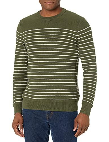 Goodthreads Men's Soft Cotton Multi-Color Striped Crewneck Sweater, Olive/White, Small