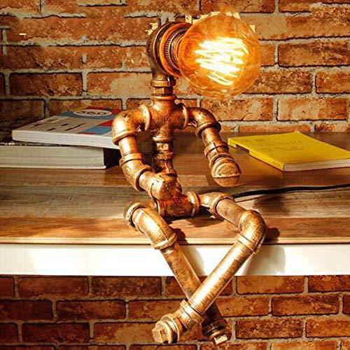 STARSHINE Roboter Steampunk Vintage Wasserleitung Lampe, Retro Industrie Eisen Shisha Tischleuchte für Nachttisch E27 (Ohne Glühbirne)[Energieklasse A++]