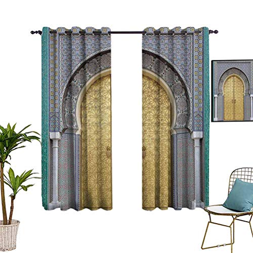 Moroccan Decor Window Curtain Panels Antique Doors Grommet Top Window Treatment Drapes for Kid's Bedroom 52'x63' Morocco Gold Doorknob Ornamental Carved Intricate Artistic