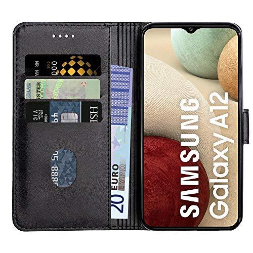 Baiyian Ledertasche Brieftasche Schutzhülle Flip Hülle für Samsung Galaxy A12, Schwarz