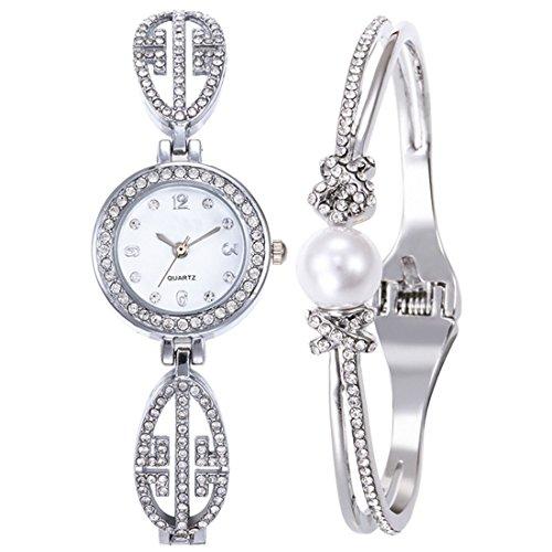 F.Lashes DISU Damen Diamant Uhr Armband Set Mode Elegant Frauen Wrap Um Quarz Armbanduhr Silber Gold