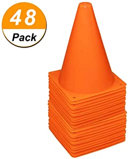 48 Pack 7 Inch Plastic Traffic Cones Field Marker Cones Sport Training Traffic Cone Sets for Skate Soccer Outdoor/Indoor A...