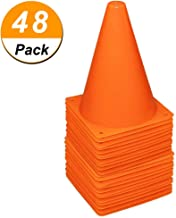 48 Pack 7 Inch Plastic Traffic Cones Field Marker Cones Sport Training Traffic Cone Sets for Skate Soccer Outdoor/Indoor Agility Training & Festive Events Physical Education Flexible - Orange