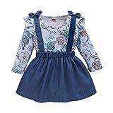 2Pcs Toddler Kids Baby Girls Outfits Floral Shirt+Solid Color Bowtie Suspender Skirt Set Clothes Set Fall (2-3T, Blue Flower Shirt+Denim Suspender Skirt)