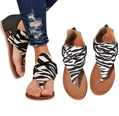 NIUJF Estivi Infradito Scarpe Outdoor Sandali Spiaggia Scarpe Piatta Scarpe Bassi Pelle Comfort Casuale Pantofola Coperta Sandali Peep Toe Cerniera Camminare Sandali Donna41