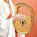 TTLIFE Lyre Harp 16 Cuerdas de Metal, Púas de Cuerda para Instrumentos Musicales con Llave de Afinación, Caoba Adecuado para Amantes de La Música, Principiantes, Niños y Adultos