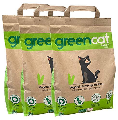 Greencat lettiera per gatti a base d'orzo (3 x 6 litri) tot. 7,20 kg