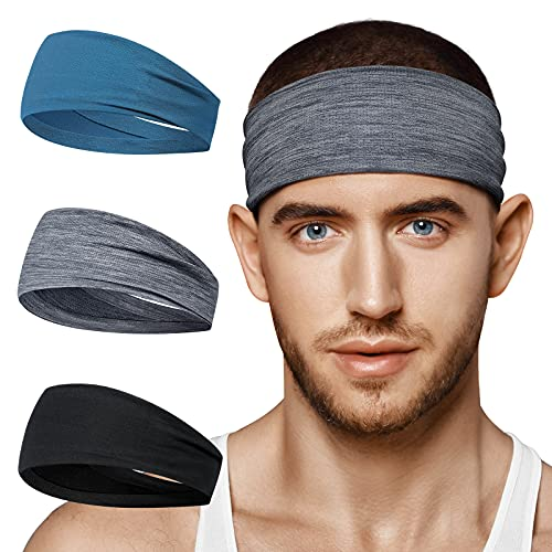 BF BAFLY Headbands for Men Women - Sweat Band & Mens Headband Mesh Design Non Slip Stretchy Moisture Wicking Breathable Workout Sweatbands for Running, Cycling, Gym, Yoga