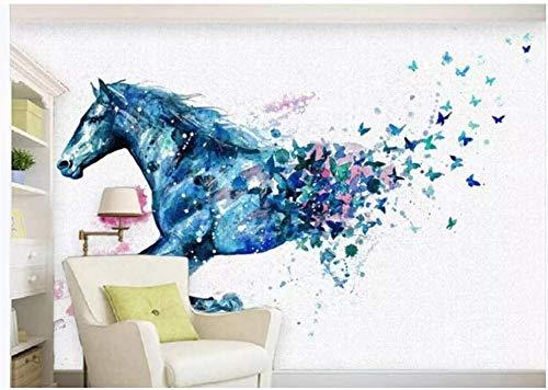 Fototapeten Wand Tapete Wohnzimmer Schlafzimmer-Fantasie Laufendes Pferd Schmetterling Aquarell Hintergrund Dekorative Malerei, 150Cmx105Cm (59.1 X 41.3 In)