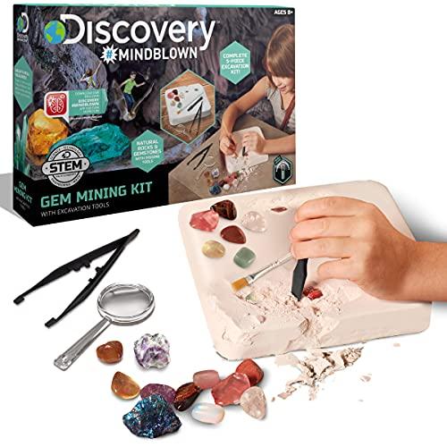 Discovery Kids Gemstone Excavation Kit, Chalk Exploration Block with 6...