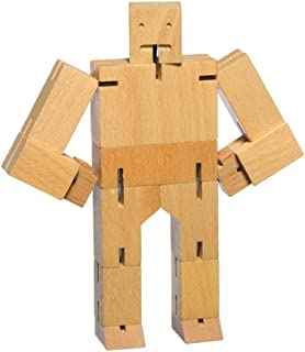 Micro Cubebot Brain Teaser Puzzle, Natural Wood