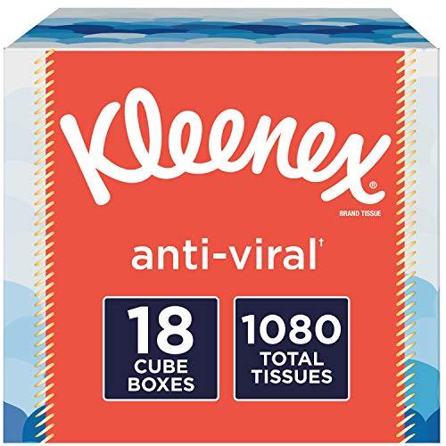 Kleenex Anti-Viral Facial Tissues, Cube Box, 60 Tissues per Box, 18 Pack (1,080 Tissues Total)