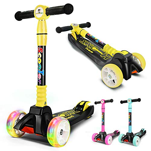 curious kid Kick Scooter Adjustable Height for Kids,Lean to Steer with PU Light-Up Wheels, 3 Wheel Kick Scooters for Toddlers Girls & Boys from 3 to 12 Years Old (Yellow)