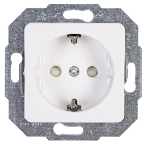 Kopp 112613086 Europa Schutzkontakt-Steckdose mit erhöhtem Berührungsschutz, arktis-weiß, 1-Fach