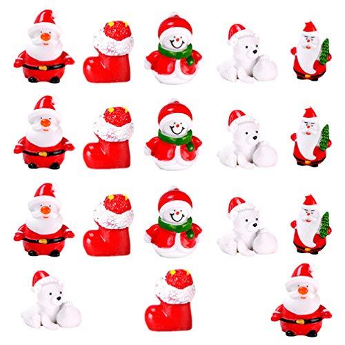Amosfun 18Pcs Decorazioni Natalizie in Miniatura Mini Babbo Natale Pupazzo di Neve Figurine Natale Fata Accessori da Giardino Bambini Vacanze Invernali Regali per Feste Bomboniere