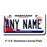 TEAMLOGO Personalized Maryland License Plate - Sizes for Kid's Bikes, Cars, Trucks, Cart, Key Rings Version 2 (2 x 4 Aluminum License Plate)