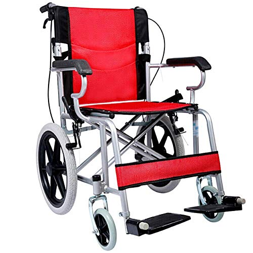 FTFTO Living Decoration Faltbarer Rollstuhl Hochgriff Leichter Rollstuhl Drive Medical Metallic Rollstuhl Reiserollstuhl Sitzbreite 46 cm Tragfähigkeit 100 kg