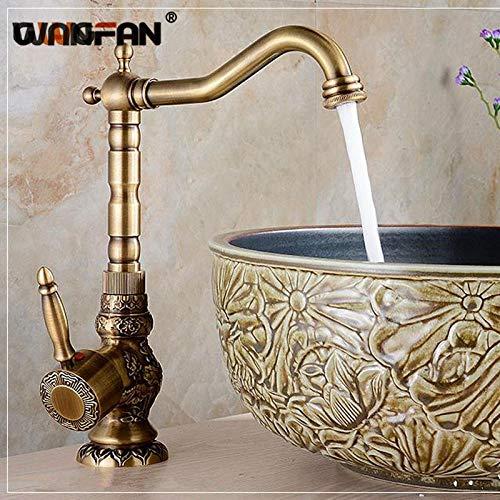 WANDOM bekken waterkraan antiek bronzen kraan messing zwenkmengkraan vintage wastafel waterkraan klassieke retro kraan voor badkamer kraan