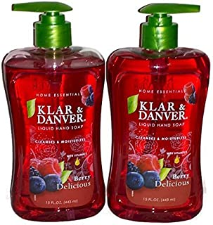 Klar and Danver Liquid Hand Soap. Two, Extra Large 15 Fl Oz Bottles. (Berry Delicious)