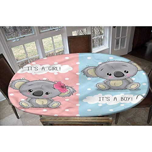 LCGGDB Koala Elastic Edged Polyester Fitted Tablecolth -Baby Shower Theme Animals- Oval/Olbong Fitted Table Cover - Fits Oval/Olbong Tables up to 36'x60',The Ultimate Protection for Your Table