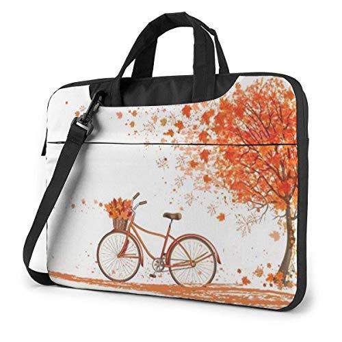 Laptoptas schoudertas voor laptop 15,6 inch herfst boom met oude fiets bedrukte laptoptas met schouderriem