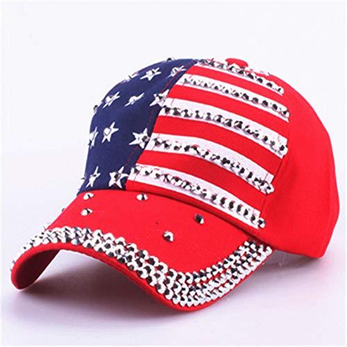 Gorra de Beisbol La Bandera Americana Gorras De Béisbol Sombrero De Moda para Hombres Mujeres La Gorra De Algodón Ajustable Rhinestone Star Denim Cap Hat