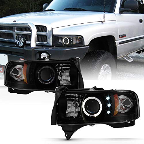 ACANII - For 1994-2001 Dodge Ram 1500 2500 3500 LED Halo Ring Black Smoked Projector Headlights Headlamps Assembly