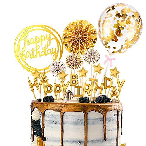 Wuddi Happy Birthday Cupcake Topper Buchstaben Kuchen Kerze Topper Konfetti Ballon Sterne und Fan Cupcake Topper 12 Stück Geburtstag Kuchen Dekoration Supplies (Gold)