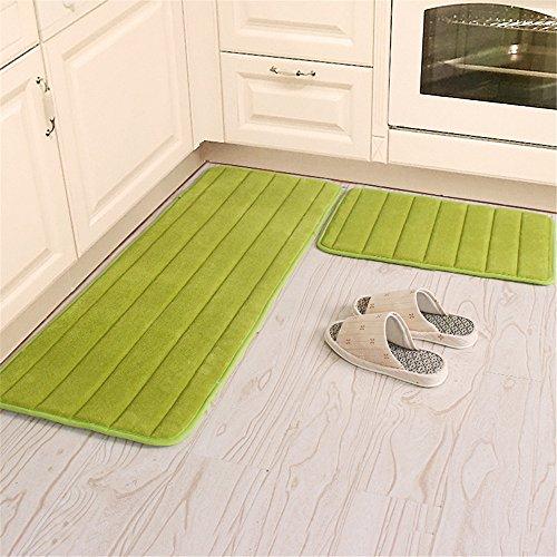 "Kitchen Rugs, CAMAL 2 Pieces Non-Slip Memory Foam Stripe Kitchen Mat Rubber Backing Doormat Runner Rug Set (16""x24""+16""x48"", Green)"