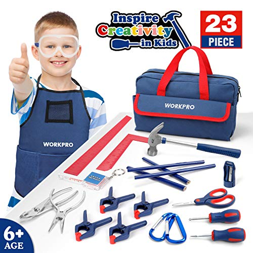 WORKPRO 23-Piece Children's Tool Set with Real Hand Tools, Safety Goggles, Storage Bag for Beginner, Kids Learning - Blue, Age 6+