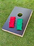 Cornhole Set mit einem Brett und 8 Säckchen - Top Qualität made in Germany, handgemachtes Board und Bean Bags