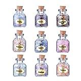 Beadthoven 9 piezas Mini botellas de deseos de piedras preciosas de cristal natural Cuarzo Chakra Reiki Chips triturados Juego de piedras para curar el equilibrio Chakra Wicca Deseo Hacer joyas