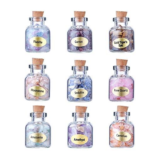 Beadthoven 9 piezas Mini botellas de deseos de piedras preciosas de cristal...