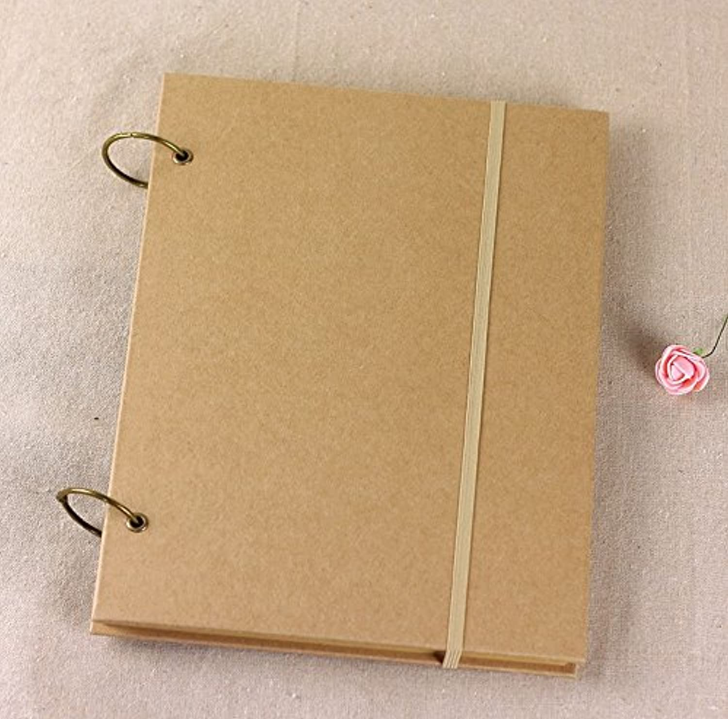 Brown Kraft Cover Ring Binding Sketchbook   Journal   Diary   Note Book With Blank White Paper (8K, 80 Sheets)