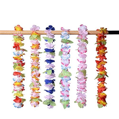 ZXZCHGN Paquete de 14/06/18 Paquete Hawaiian Garlands, Hawaiian Leis Hula Aloha Hawaii Hen Stag Flower Guirnalda Collares Flor Guirnalda Hawaiano Garland Diadema Partido Partido Tropical Decoraciones