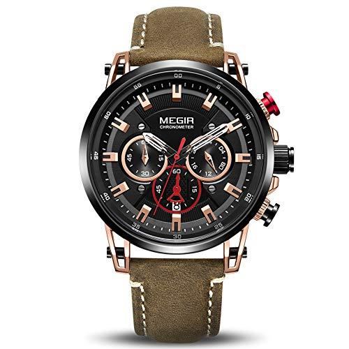 MEGIR Montres de poignet pour hommes Mode Bracelet en cuir analogique Militaire Sports Montre à quartz pour hommes avec chronographe et affichage du calendrier marron