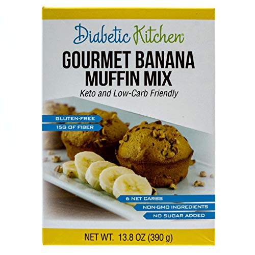 Diabetic Kitchen Low Carb Muffin Mixes - Keto Friendly Banana Muffins - No Sugar Added, 15g Fiber, Gluten Free, Non-GMO, No Artificial Sweeteners or Sugar Alcohols (Gourmet Banana)