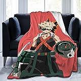 Manta de franela con flecos de pompón de franela de 50 x 40 cm, Mha Bakugo Katsuki Anime Manga impresa de pelaje de encaje manta de sofá ligera y divertida para hombre y niño
