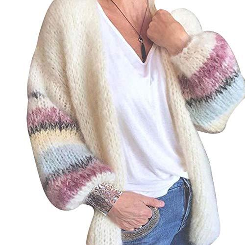 Strickjacke Damen Cardigan Strick Cardigan Frauen Langarm Regenbogen Gestreifte Cardigan Tops Herbst Pullover Mantel Strickwaren S Weiß