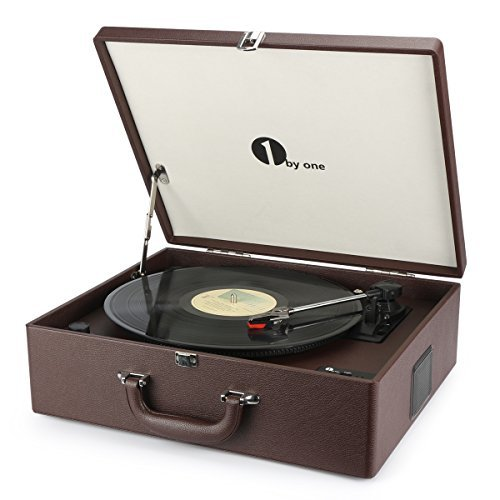 1byone Suit Case Style Turntable with Speaker, Wireless Connectivity and Vinyl to MP3 Recording, Belt Driven Record Player, Wine Red