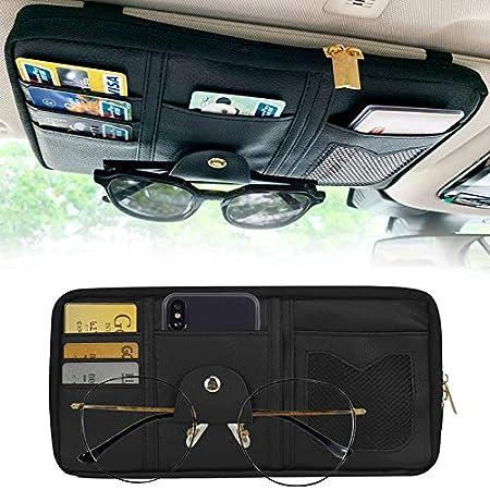 STHIRA® Leather Car Sun Visor Organizer Auto Interior Accessories Pocket Organizer Truck Storage Pouch Holder with Multi-Pocket Net Zipper (Black)