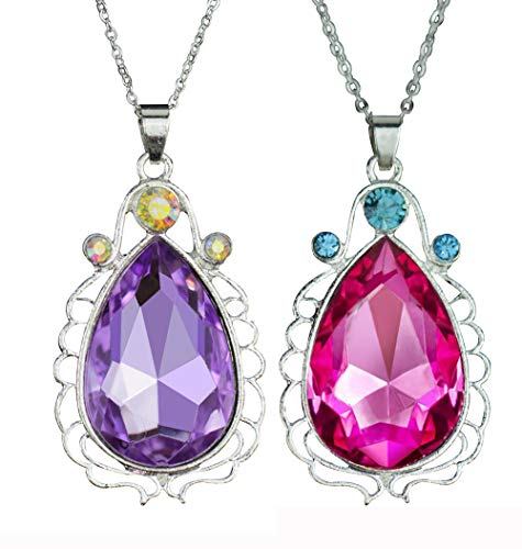 Artvine 2 Pcs Sofia The First Amulet and Elena Princess Necklace Twin Sister Teardrop Necklace Magic Jewelry Gift for Girls (1puple&1pink) S7