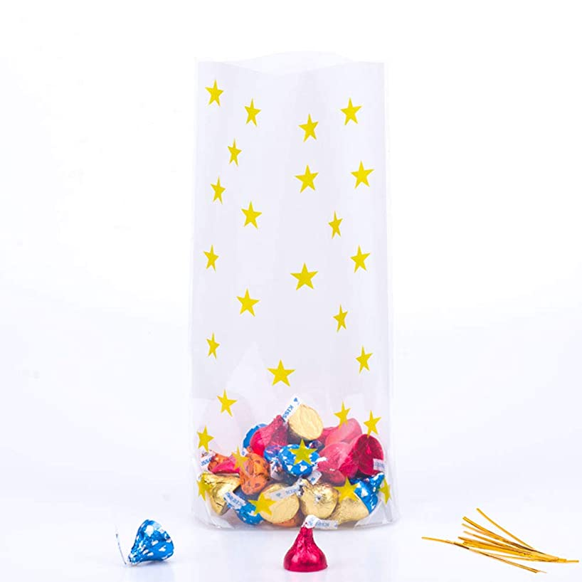 Gold Star Candy Plastic Clear Cello Bags Party Favor cellophane Treat Bags,Pack of 100