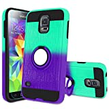 Atump Galaxy S5 Case,S5 Phone Case with HD Screen Protector, 360 Degree Rotating Ring Holder Kickstand Bracket Cover Phone Case for Samsung Galaxy S5 Mint/Purple