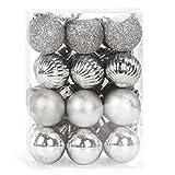 Bolas Navidad Pequeña Plata, 3cm Adornos árbol de Navidad Pequeña, 24 PCS Bolas de Navidad Mini, Navidad Esferas de Plastico, Boda de Fiesta Hogar, Brillantina Mate Diamante Textura