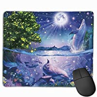 マウスパッド イルカ 星空 海 月光 Mousepad ミニ 小さい おしゃれ 耐久性が良 滑り止めゴム底 表面 防水 コンピューターオフィス ゲーミング 25 x 30cm