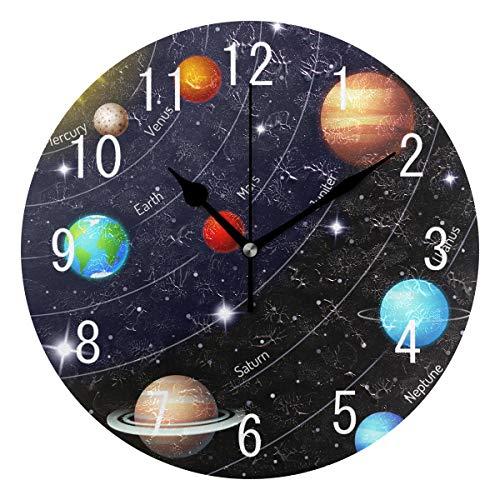 Domoko, Acrylwanduhr, mit Sonnensystem, Weltraumplaneten, stille Uhr, nicht tickend, rund, Wohnkultur, Kunst für Wohnzimmer, Küche, Schlafzimmer