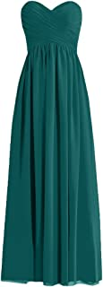H.S.D Womens A Line Sweetheart Long Chiffon Bridesmaid Dress Evening Gowns